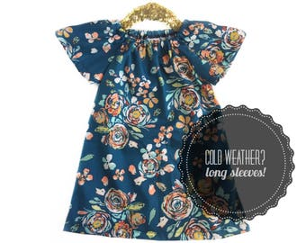 Spring Outfit, Spring Dress, Navy Dress, Girls Floral Dress, Baby Floral Dress, Girls Blue Dress, Peach Dress, Toddler Dress, Baby Dress