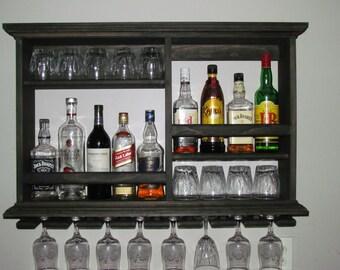 Mini Bar, Black Stain, Wine Rack, Liquor Cabinet, Minimalist Style, 3 X 2  Wall Mounted Bar
