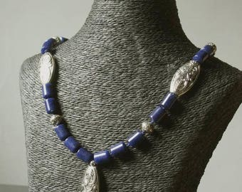 """Necklace set """"Indian walk"""" collection """"Distant Asia"""" lapis lazuli and silver."""