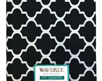 Quilting Fabric, Fat Quarter Single, Craft Supplies, Geometric/Quartrefoil, Black/White, Baby/Diy/Sewing Material, Apparel/Sewing Material,