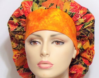 Fall Leaves Scrub Hat All Over with a muted Orange Headband -Bouffant Scrub Hat-Scrub Caps-Autumn Fall-Womens Scrub Hat-SilverCaps