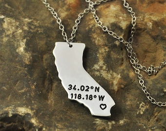 California  necklace Latitude Longitude Necklace Coordinate  925 sterling silver  necklace state necklace map necklace state charm