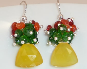 Jamaica Me Crazy earrings - lemon yellow chalcedony, fire opal, tsavorite and sterling silver
