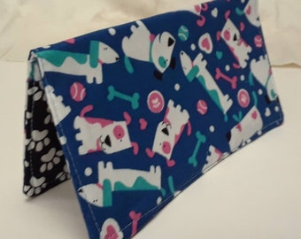 Cute Dogs Checkbook Cover Coupon Holder Clutch Purse Billfold Ready-Made Blue