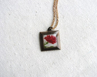 Flower Necklace Fabric Textile Resin Minimalist Botanical Flower Pattern Jewelry Red Square Naturalist Gardener Art Pendant Bridal
