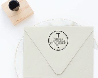 Return Address Stamp, Monogram Address Stamp, Custom Stamp, Housewarming Gift, Round Circle Rubber Stamp, Self Inking Wooden Stamp Custom
