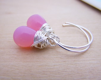 Pink Glass Sterling Silver Wire Wrapped Drop Earrings / Simple Jewelry / Gift for Her