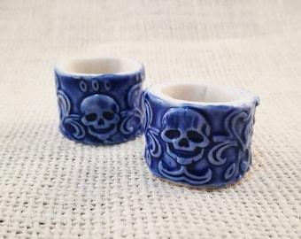 Skull ring- porcelain, ceramic, cobalt blue, textured, anatomical, gothic, steampunk,