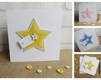 Personalised Christening Card, Baby Baptism Card, Thanksgiving Card, Christening Card for Girl or Boy, Stitched Gingham Star Greeting Card
