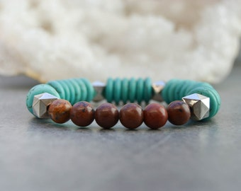 Pearl Bracelet - Stone bracelet - turquoise Bangle - pearls bracelet - elastic bracelet - jasper bracelet - Bracelet Stacking