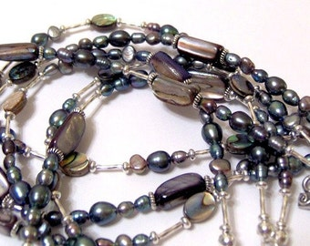 Iridescent Decadence Freshwater Pearl and Abalone Signature Design Three Strand Necklace, Bracelet and Matching Earrings Set