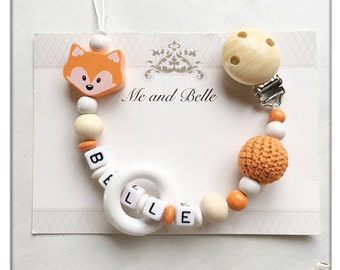 Beaded pacifier clip, dummychain, personalized pacifier clip, beaded dummy chain, baby clothing ideas, fox pacifier clip, binky clip