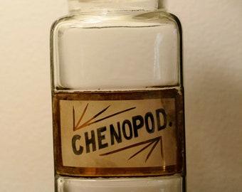 Wonderful Apothecary label under glass bottle