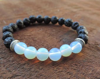 Opalite Bracelet, Chakra Bracelet, Healing Meditation Bracelet, Yoga Bracelet, Wrist Mala, Lava Bracelet, Healing Crystals