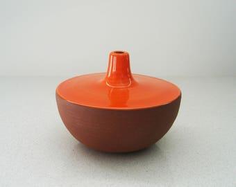 Red Orange Handmade Ceramic Vase in Terra Cotta Stoneware - Mid century modern pottery decor