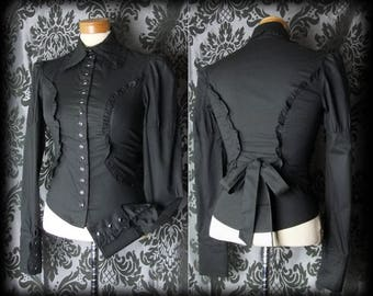 Gothic Black Very Fitted CRUEL GOVERNESS Frilled Tie Corset Blouse 4 6 Victorian