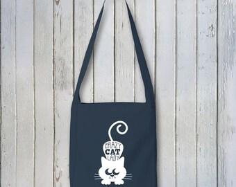 Crazy Cat Lady ~  Canvas Sling Bag Over Shoulder Market Tote