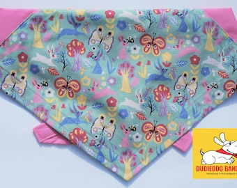 Enchanted Forest Dog Bandana! Perfect Easter pet gift! Tie on, colour options, Handmade in Yorkshire by Dudiedog. Free UK delivery. 7 sizes!