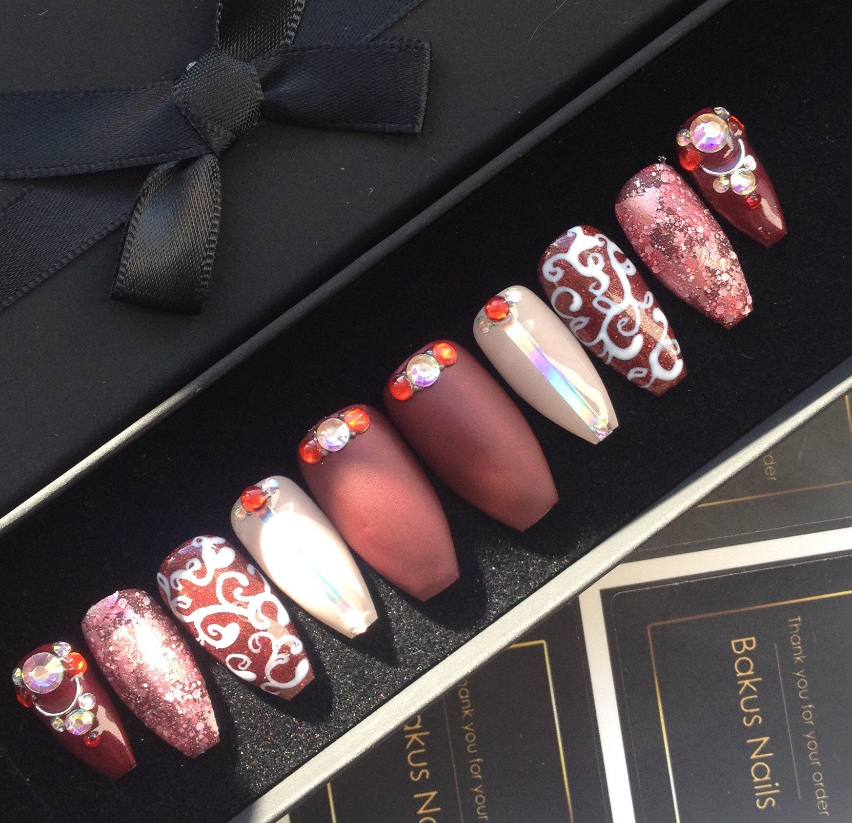 Hand Painted Press On Nails False Nails Medium Length Coffin shape ...
