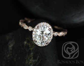 Rosados Box Gwen 8x6mm 14kt Rose Gold Oval F1- Moissanite and Diamonds Vintage Halo WITH Milgrain Engagement Ring
