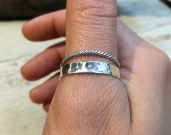 Double Stacking Ring, Skinny Ring, Minimal Ring, Stackable Silver Ring, Organic Silver ring, midi ring, dainty thumb ring - Spirit R2476
