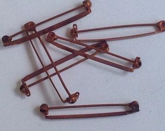 6 vintage copper pins