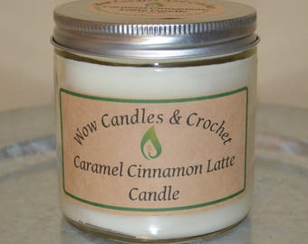 Caramel Cinnamon Latte scented candle, 16 oz 2 wick or 9 oz caramel cinnamon latte scented candle