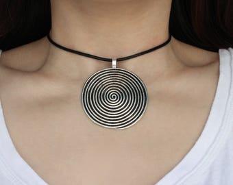 Vegan Leather Spiral Pendant Choker
