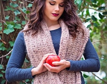 Knit Infinity Scarf Pattern - Pdf File - Ariadne Fluted Cowl - Easy & Fun Project