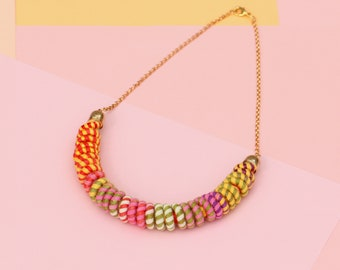 Colorful Textile Necklace For Women, Unique Jewelry For Her, Fabric Rope Statement Necklace