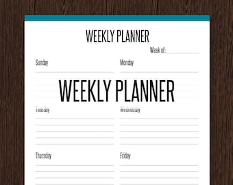 Weekly Planner - Fillable - Remember important dates and appointments - Printable PDF - Instant Download