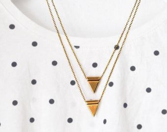 Pendulum Pendant Set - Tribal Industrial Necklace Set - Raw Gold Pendant - Modern Geometric Necklace - Minimalist Triangle Set