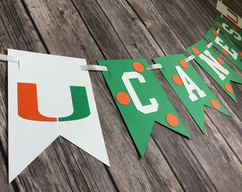 College themed - UM Banner - Custom text banner - Go Canes