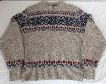 Vintage JCPenny Mens L Ski Lodge Sweater Gray Wool Nylon Blend Snowflake