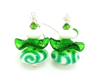 Green Earrings, Lampwork Earrings, Glass Earrings, Ruffle Earrings, Glass Bead Earrings, Unique Earrings, Lampwork Earrings, Ruffle Earrings
