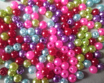 x 50 mixed satin 6 mm multicolored glass beads