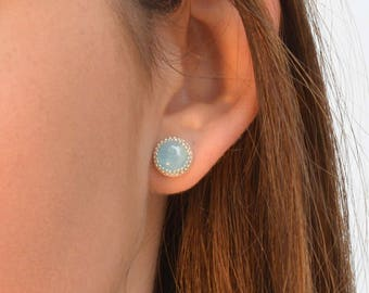 Sterling Silver Earrings,Aquamarine earrings,Gemstone Earrings,Aquamarine  Earrings,Wedding Earrings,Natural aquamarine Jewelry -B400