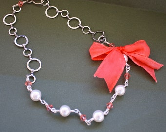 Salmon Ribbon Necklace - Wire Wrapped Necklace - Glass Pearls and Crytals - Toggle Chain