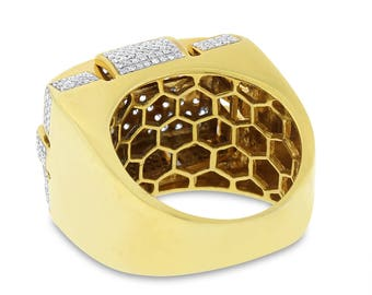 2.86 Ct. Natural Diamond Men's Statement Large Ring Solid 14k Yellow Gold