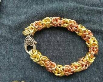 mixed metal bracelet hand made