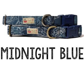"Navy Dark Blue Silver Floral Flowers Organic Cotton Dog Collar - Antique Metal Hardware - ""Midnight Blue"""