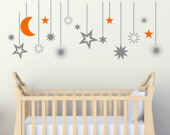 Moon and Stars Decals - Moon Wall Decals - Moon Nursery Decals - Moon Nursery Decor - Stars Wall Decals - Stars Nursery Decor - Vinyl Decals