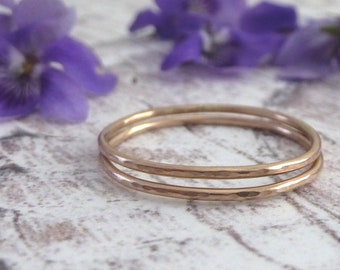 Thin Gold Ring - Solid 9ct rose gold - Hammered Polished Finish