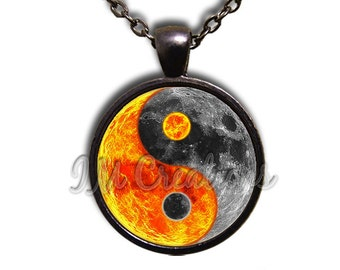 Sun Moon Yin Yang Dome Pendant or with Chain Link Necklace  SM175
