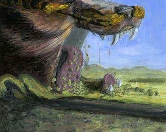 Fenrir at Ragnarok - Norse Mythology Illustration Art Print