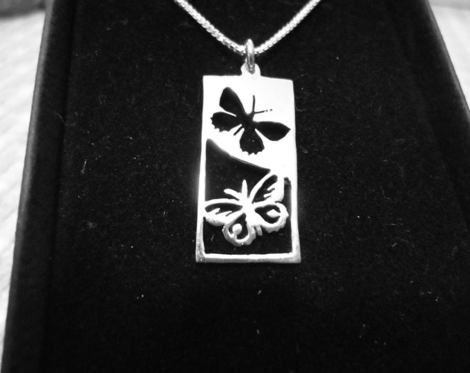 Butterfly rectangle reflection necklace w/sterling silver chain