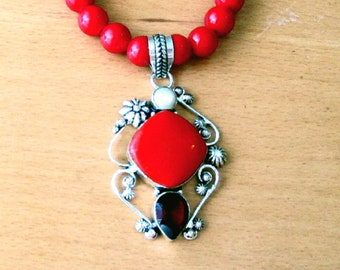 Red Coral Necklace, Red Coral Pendant Sterling Silver Red Coral, Garnet & Pearl Pendant and Red Coral Bead Necklace