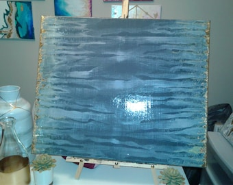 Abstract Art, Acrylic Painting with Gold Leaf