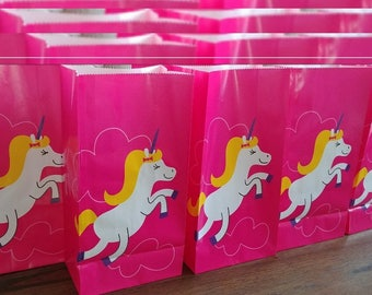 """10pc. Rainbow Unicorn 10x5x5"""" Paper Treat Bags ~ Birthday Party Favors Supplies Candy Loot Bags"""