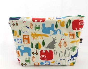 Fabric zipper pouch white double animals - handmade